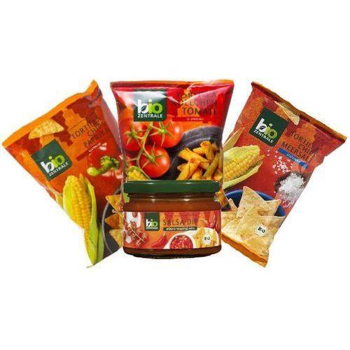 Chipsy tortilla pomidor/sól/papryka 3x125g + dip salsa 200ml - bio zentrale marki 111bio zentrale