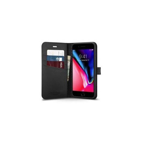 6348fb963e879 wallet s etui portfel ze skóry ekologicznej schowek na kartę iphone 8 plus  / 7 plus czarny (black) marki Spigen 81,49 zł bardzo lekkie etui o  klasycznym i ...