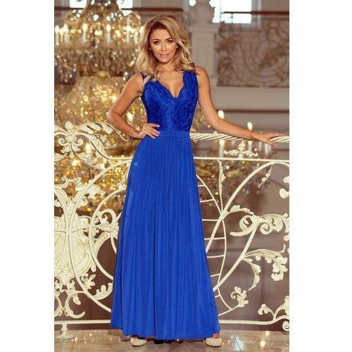 f9583bb1f6 Numoco 211-3 lea długa suknia bez rękawków z koronkowym dekoltem - chaber  214
