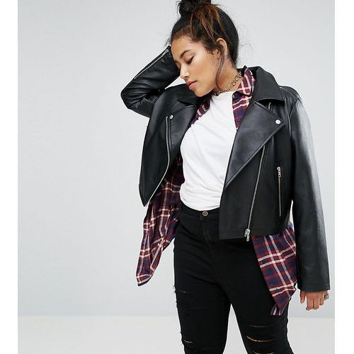 ultimate leather look biker jacket - black marki Asos curve