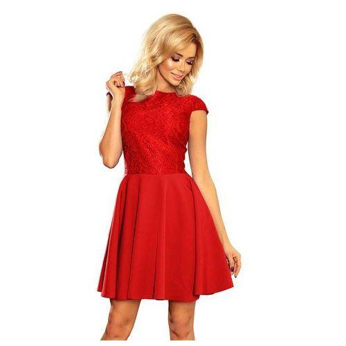 Czerwona Sukienka Elegancka Rozkloszowana z Koronką, kolor czerwony