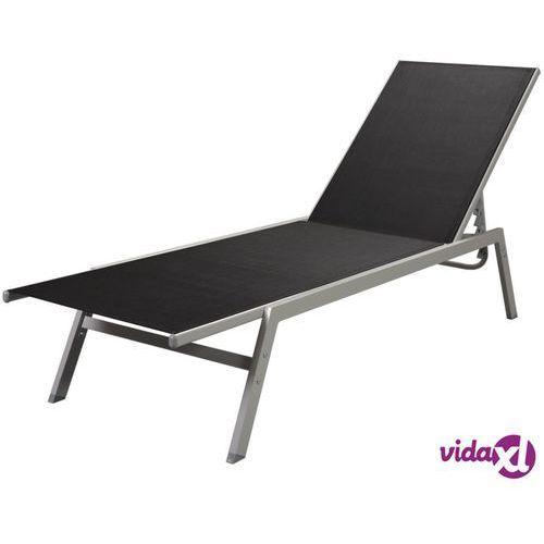 Vidaxl leżak z tworzywa textilene, czarny (8718475504542)
