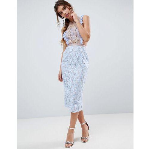lace pencil midi dress with frill pinny bodice - blue, Asos
