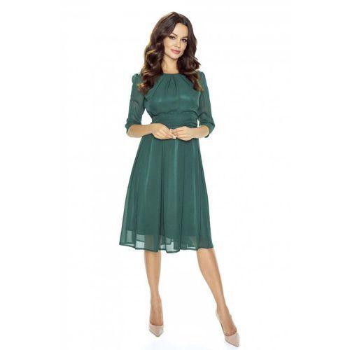 Wieczorowa Zielona Sukienka Szerokim Dołem, w 4 rozmiarach