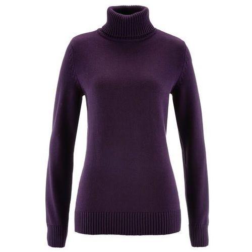 Sweter z golfem ciemny lila, Bonprix, 36-50