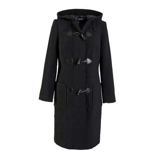 Płaszcz wełniany budrysówka czarny marki Bonprix