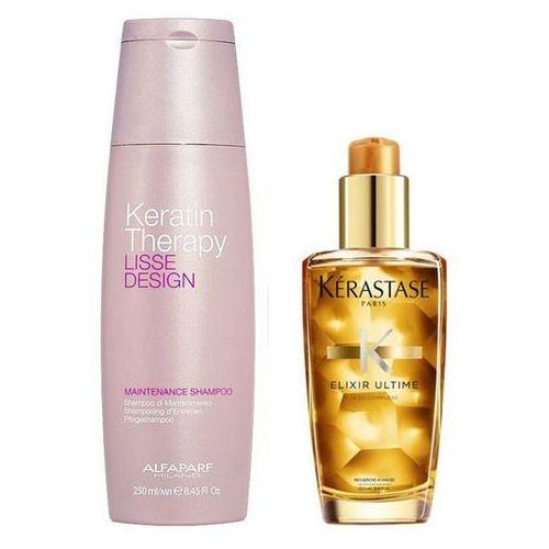 Alfaparf keratin therapy maintenance and elixir ultime | zestaw do wygładzenia i odżywienia włosów: szampon 250ml + olejek 100ml