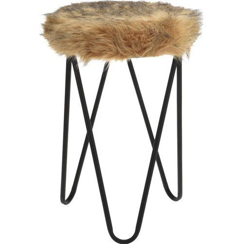 Stołek FUR Design, taboret z futerkiem - brązowy (8719202298703)