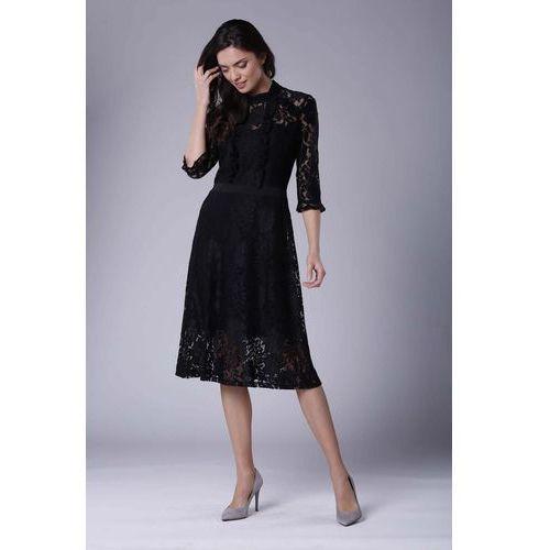 4f42f3d3a85a6e ... Rozkloszowana Sukienka Koronkowa ze Stójką, kolor czarny 153,90 zł  Material: poliester 100%.Dostepne rozmiary: XS (34), S (36), M (38), L (40),  XL (42), ...