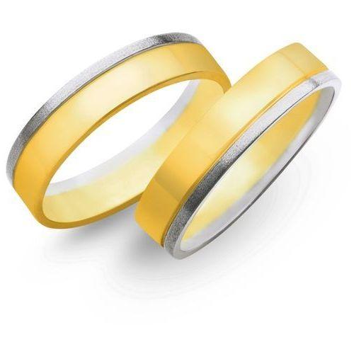 Obrączki z żółtego i białego złota 5mm - O2K/059 - produkt dostępny w Świat Złota