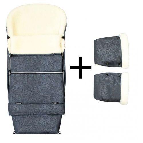 Emitex zestaw zimowy do wózka romance combi śpiworek + rękawice, szary (8595624429198)