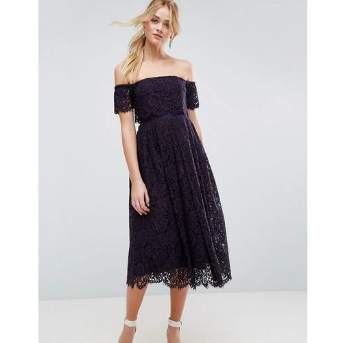 Asos off the shoulder lace prom midi dress - navy