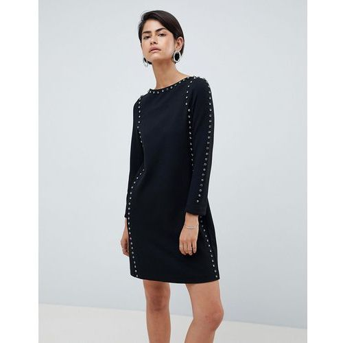 luna rhinestone studded shift dress - black, French connection