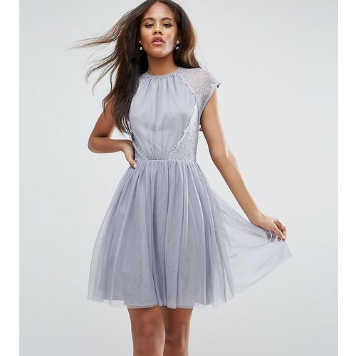 ASOS TALL PREMIUM Lace Tulle Mini Prom Dress - Grey