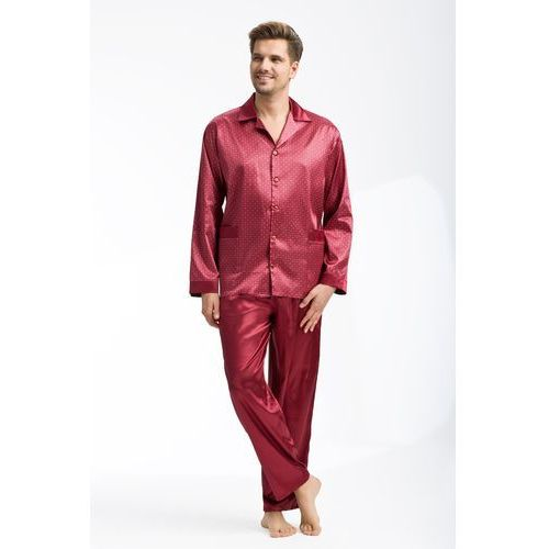 Piżama męska LUNA kod 750 satynowa bordowy SIZE PLUS