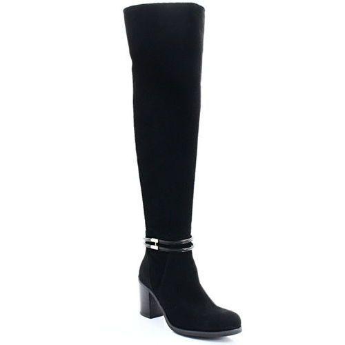 3205 czarne nubuk - wysokie kozaki za kolano marki Gamis