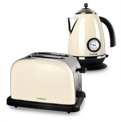 Aquavita Zestaw śniadaniowy w kolorze kremowym | czajnik elektryczny | toster