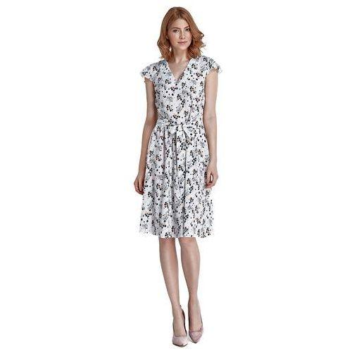 Sukienka - kwiaty/ecru - S86, kolor biały