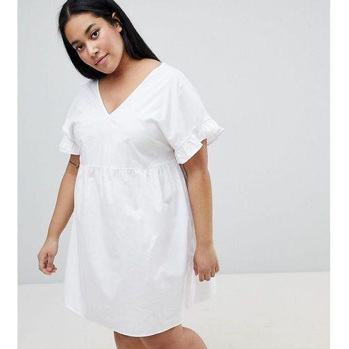 Asos curve Asos design curve v front v back mini cotton smock dress - white