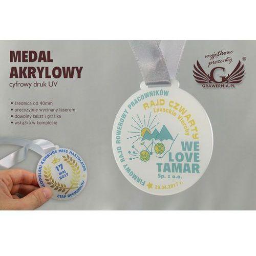 Grawernia.pl - grawerowanie i wycinanie laserem Medal z akrylu szronionego - druk uv - mak002 - średnica 40 do 80mm
