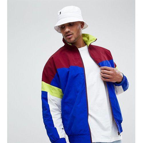 Asos design festival tall windbreaker track jacket in colourblock navy - red