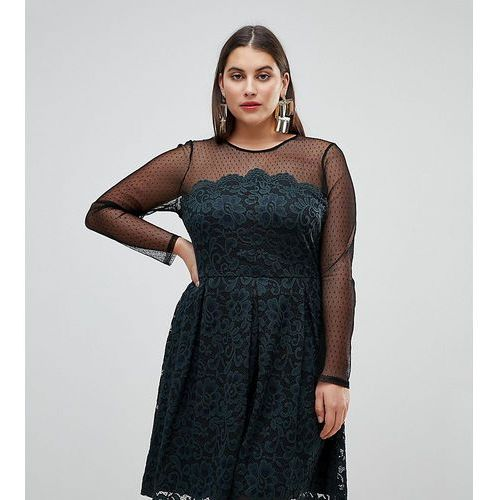 ASOS CURVE Lace & Dobby Mini Skater Dress - Black, kolor czarny
