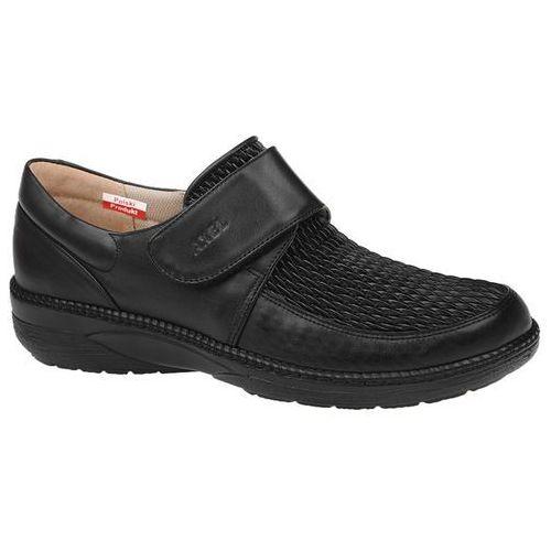 Półbuty AXEL Comfort 1206 Czarne Stretch na rzepy Haluksy Tęgość H, kolor czarny