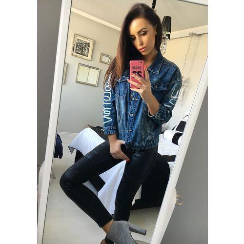 Granatowa kurtka jeansowa damska Denley 5131, towar z kategorii: Kurtki damskie