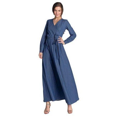 Sukienka maxi z kopertowym dekoltem - jeans - S112