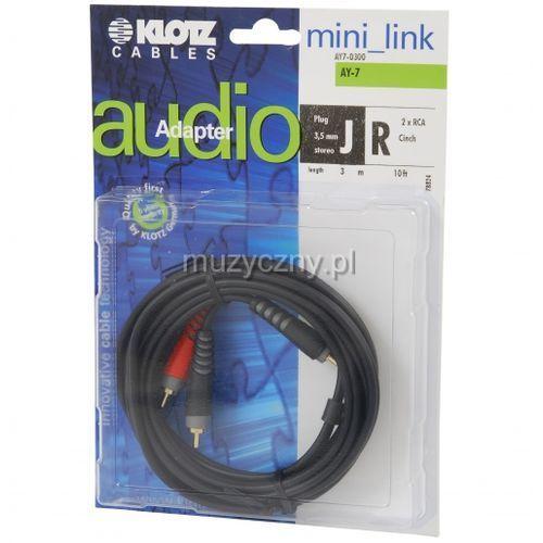 Klotz AY7 0300 kabel mini TRS / 2xRCA 3m