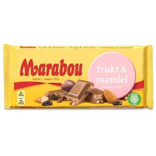 Marabou frukt & mandel czekolada mleczna z migdałami i rodzynkami 200g
