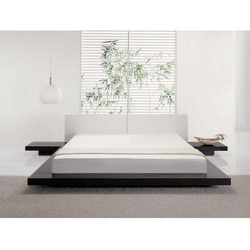 Beliani Łóżko ciemnobrązowe - 180x200 cm - łóżko drewniane - styl japoński - zen