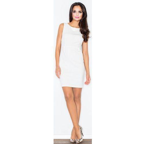Sukienka M079 Ecru L, kolor beżowy