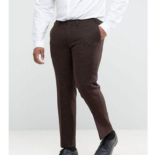 plus slim suit trousers in 100% wool harris tweed herringbone in brown - brown marki Asos
