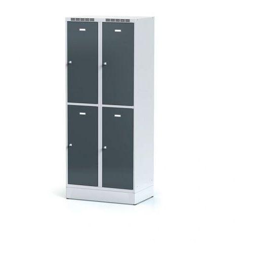 Metalowa szafka ubraniowa 4-drzwiowa na cokole, drzwi antracytowe, zamek obrotowy marki Alfa 3