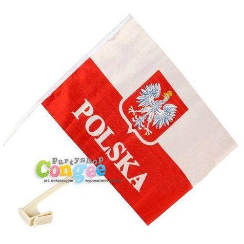 Flaga Polski z godłem i napisem Polska na okno samochodowe - 50 szt.