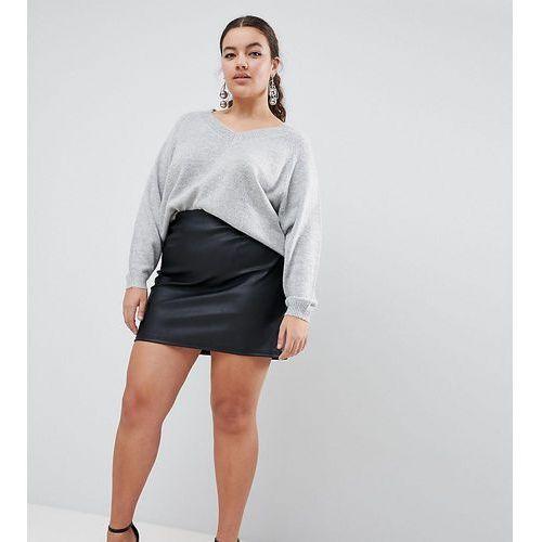 Asos design curve sculpt me leather look mini skirt - black marki Asos curve