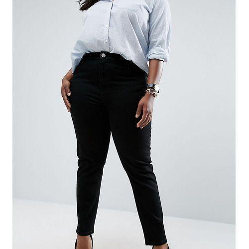Asos curve farleigh slim mom jeans in clean black - black