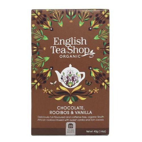 English tea sho Herbatka ziołowa rooibos z ziarnami kakaowca i laską wanilii 20x2g bio 40 g p