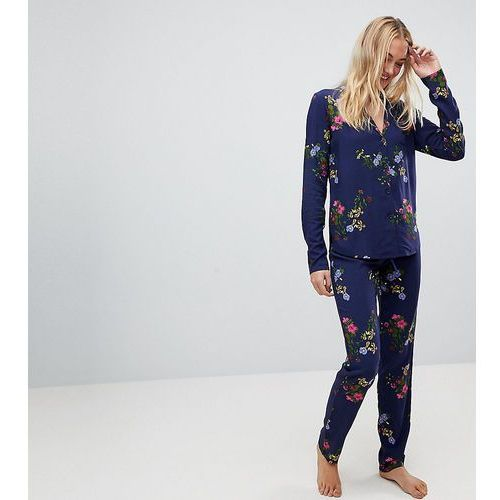 Asos tall midnight blue floral traditional shirt & trouser pyjama set - multi