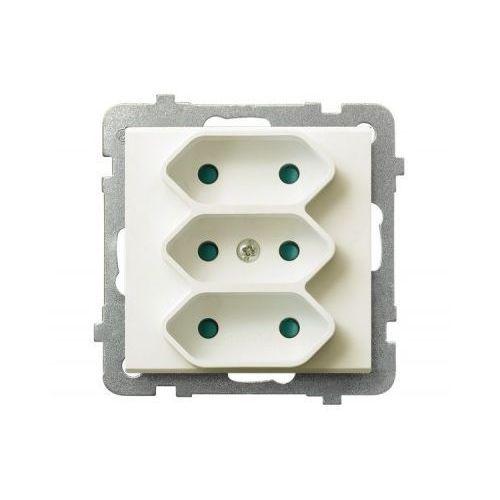 OSPEL SONATA GP-3RP/M/27 Gniazdo potrójne EURO z przesłonami torów prądowych ECRU