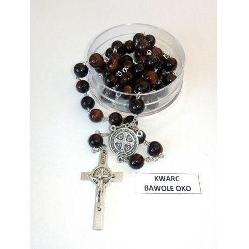 Różaniec z kamieni kwarc bawole oko ze Św. Benedyktem