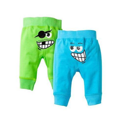 Spodnie dresowe niemowlęce (2 pary) bonprix jaskrawy zielony - turkusowy - produkt z kategorii- spodenki dla niemowląt