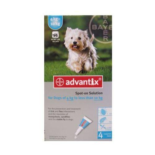 Bayer Advantix Spot-on 4x1ml krople dla małych psów od 4 do 10kg przeciw pchłom, kleszczom i komarom 4 ampułki (pielęgnacja psów)