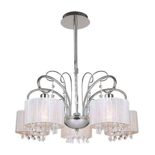 Dekoracyjna LAMPA wisząca SPAN MDM1583/5 Italux abażurowa OPRAWA kryształki nowoczesny ŻYRANDOL glamour ogranza chrom biała (5900644346081)