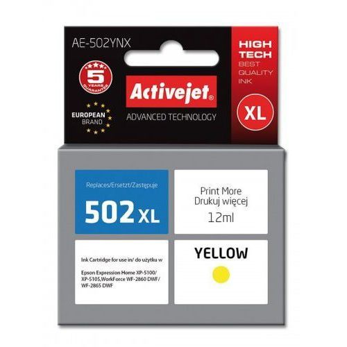 Tusz ae-502ynx zamiennik epson 502xl w44010 supreme 12 ml żółty marki Activejet