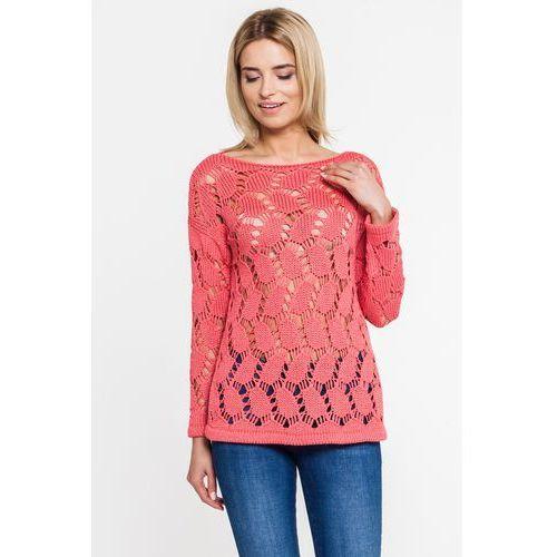 Malinowy sweter ażurowy - Far Far Fashion