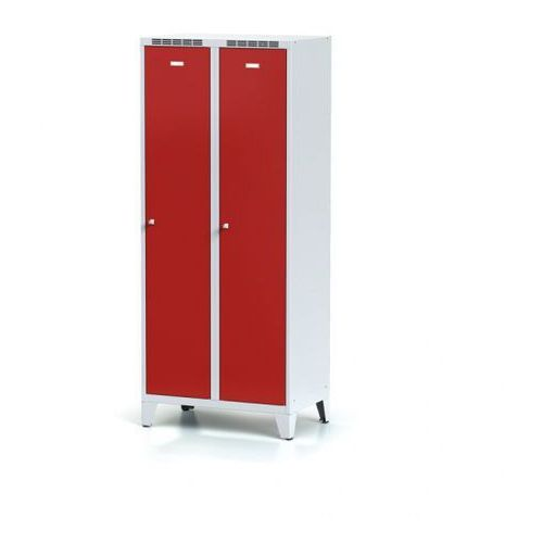 Alfa 3 Metalowa szafka ubraniowa z przegrodą, na nogach, czerwone drzwi, zamek obrotowy