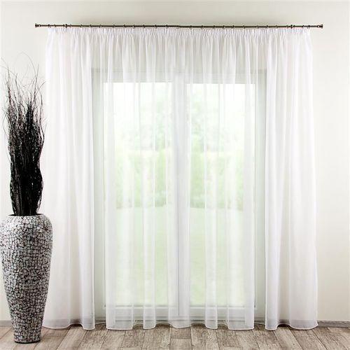 Dekoria Firana woalowa prosta na taśmie, biały/ołowianka, 300 × 260 cm, Woale, kolor biały