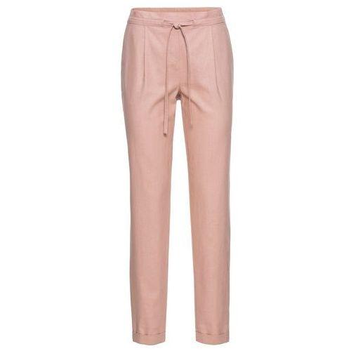 Spodnie lniane bonprix stary jasnoróżowy